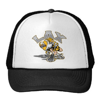 Lacrosse Player Yellow Uniform Trucker Hat