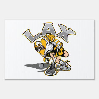 Lacrosse Player Yellow Uniform Yard Sign