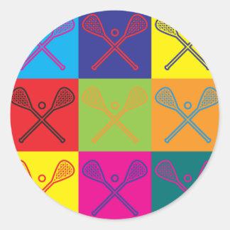 Lacrosse Pop Art Classic Round Sticker