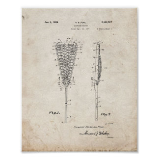 Lacrosse Racket Patent - Old Look Poster