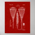 Lacrosse Racquet Patent - Burgundy Red Print