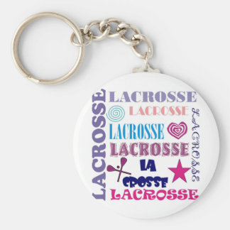 Lacrosse Repeating Basic Round Button Keychain