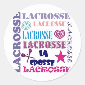 Lacrosse Repeating Classic Round Sticker