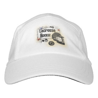 Lacrosse Rocks! Cool Grungy Design Hat
