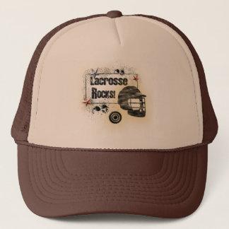 Lacrosse Rocks! Cool Grungy Design Trucker Hat