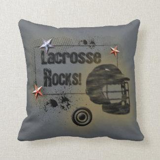 Lacrosse Rocks! Grungy Design Throw Pillow