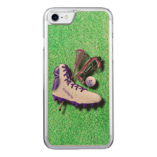 Lacrosse Shoe Stick Eye Mask Ball With Your Name Carved iPhone 8/7 Case