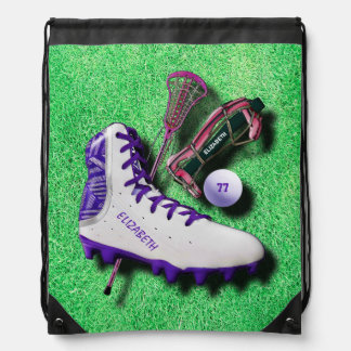 Lacrosse Shoe Stick Eye Mask Ball With Your Name Drawstring Bag