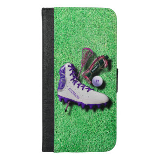 Lacrosse Shoe Stick Eye Mask Ball With Your Name iPhone 6/6s Plus Wallet Case