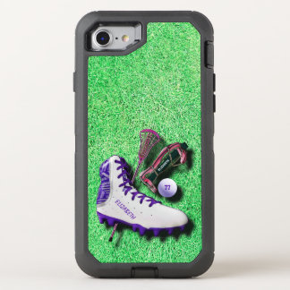 Lacrosse Shoe Stick Eye Mask Ball With Your Name OtterBox Defender iPhone 8/7 Case