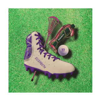 Lacrosse Shoe Stick Eye Mask Ball With Your Name Wood Print
