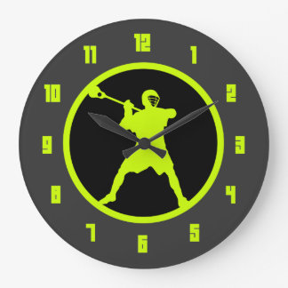 Lacrosse Shooter - green Large Clock