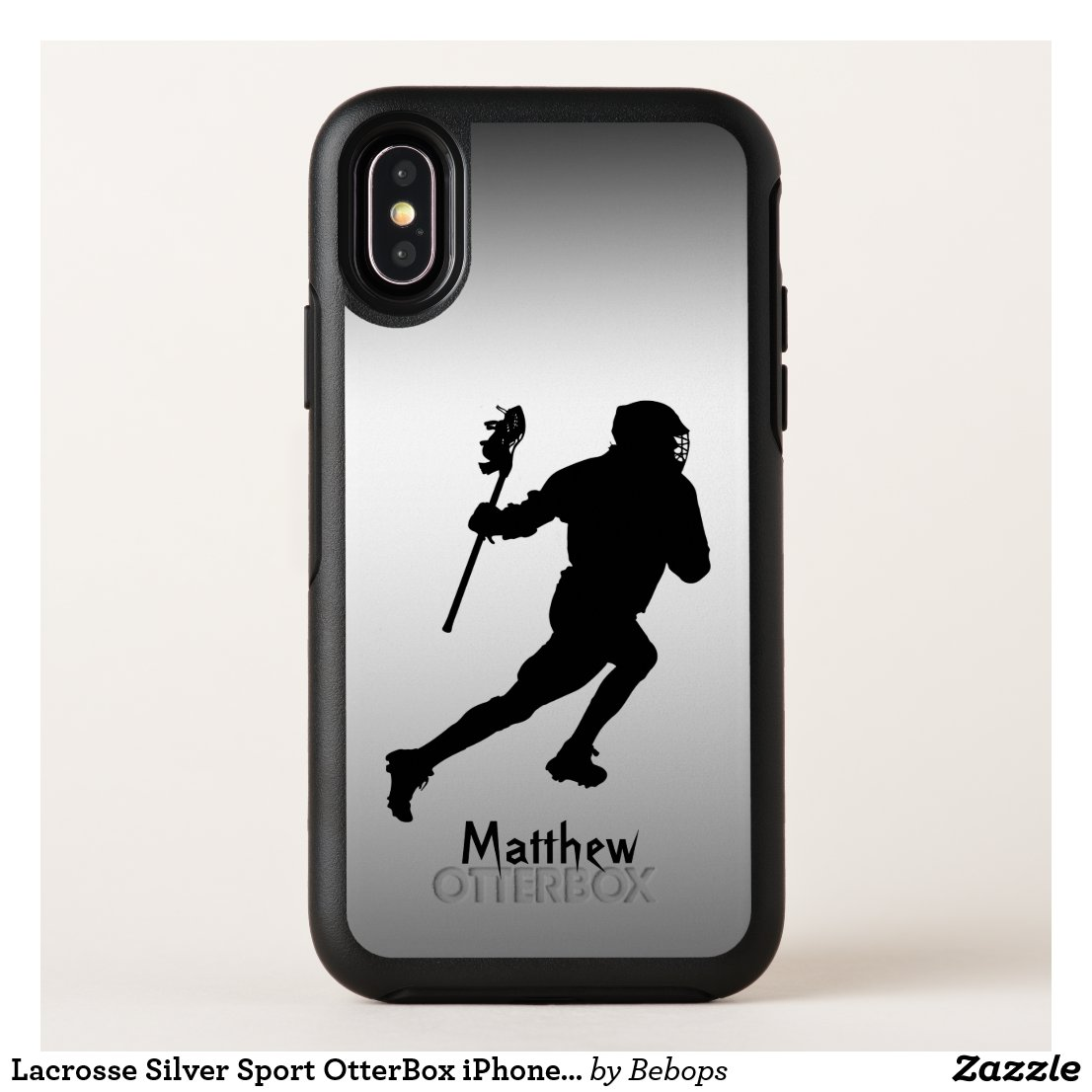 Lacrosse Silver Black Sport OtterBox iPhone X Case