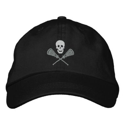 Lacrosse Skull and Cross Sticks Embroidered Cap