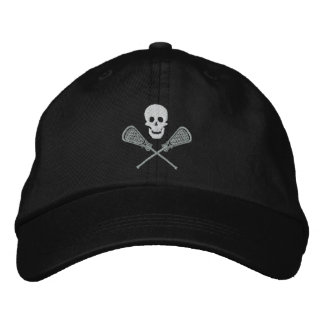 Lacrosse Skull and Cross Sticks Embroidered Cap Embroidered Baseball Cap