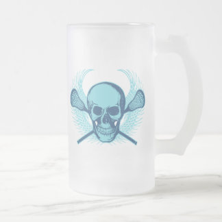 Lacrosse Skull - Blue Frosted Glass Beer Mug