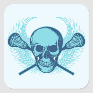 Lacrosse Skull - Blue Square Sticker