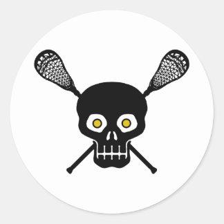Lacrosse Skull Classic Round Sticker