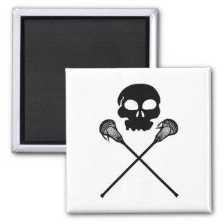 Lacrosse Skull Crossed Sticks 2 Inch Square Magnet