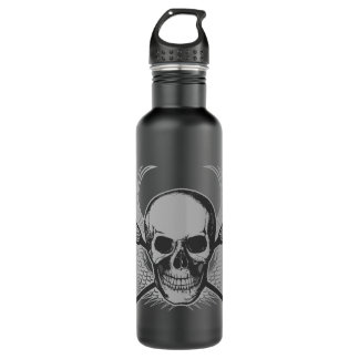 Lacrosse Skull - Gray beverage container 24oz Water Bottle