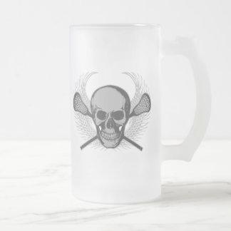 Lacrosse Skull - Gray Frosted Glass Beer Mug