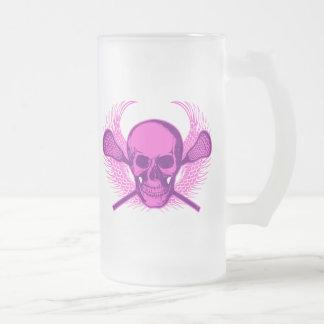Lacrosse Skull - Purple Frosted Glass Beer Mug