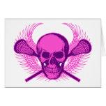 Lacrosse Skull - Purple Greeting Card