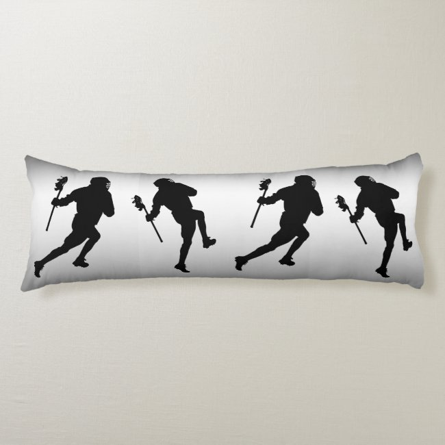 Lacrosse Sports Black and Silver Body Pillow
