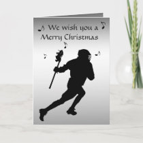 Lacrosse Sports Black and Silver Christmas Card