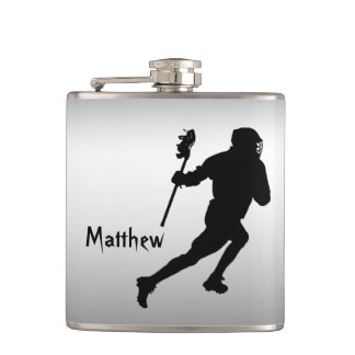 Lacrosse Sports Black and Silver Flask