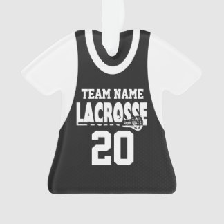 Lacrosse Sports Jersey Black with Photo Ornament