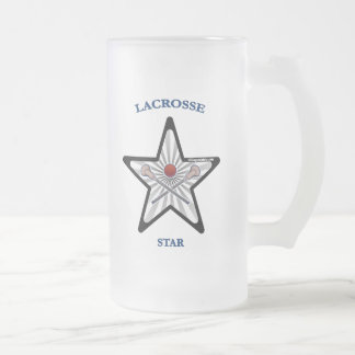 Lacrosse Star Frosted Glass Beer Mug