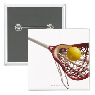 Lacrosse stick and ball pinback button