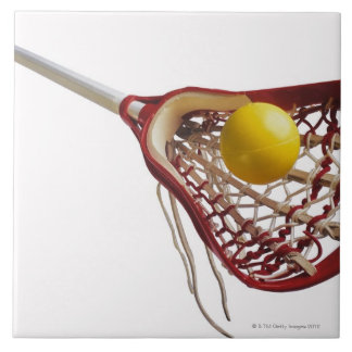 Lacrosse stick and ball ceramic tile