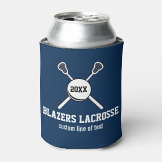Lacrosse Stick and Ball Custom Player Team Name Can Cooler