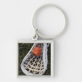 Lacrosse Stick and Ball Silver-Colored Square Keychain