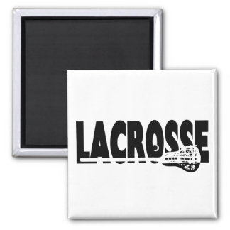 Lacrosse Stick Black and White 2 Inch Square Magnet