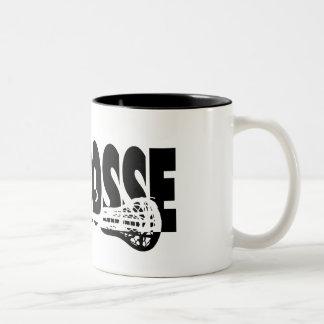 Lacrosse Stick Black and White Two-Tone Coffee Mug