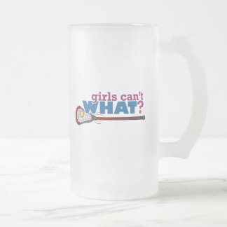 Lacrosse Stick in Red 16 Oz Frosted Glass Beer Mug
