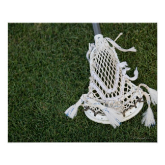 Lacrosse stick on grass poster