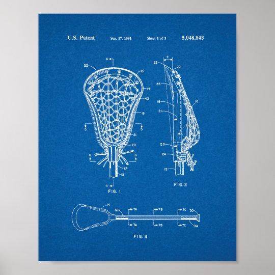 Lacrosse stick patent blueprint poster zazzle lacrosse stick patent blueprint poster malvernweather Image collections