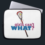 "Lacrosse Stick Red Laptop Sleeve<br><div class=""desc"">Feel the rush of scoring a goal with this sporty design. Who says girls can&#39;t play lacrosse? Girls Can&#39;t WHAT? Makes a great gift for athletes of all ages!</div>"
