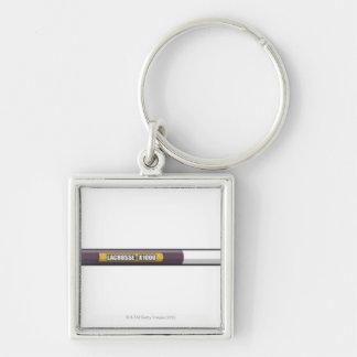 Lacrosse stick Silver-Colored square keychain