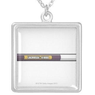 Lacrosse stick square pendant necklace