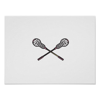 Lacrosse Stick Woodcut Poster