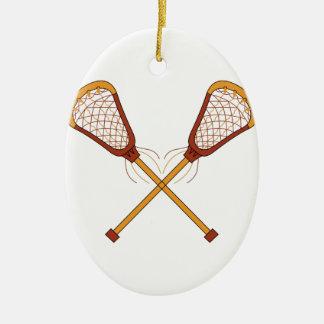 Lacrosse Sticks Ceramic Ornament