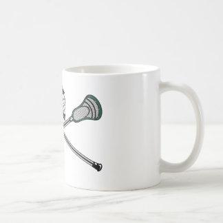 Lacrosse Sticks Crossed Green Helmet Coffee Mug