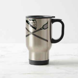 Lacrosse Sticks Crossed Green Helmet Travel Mug