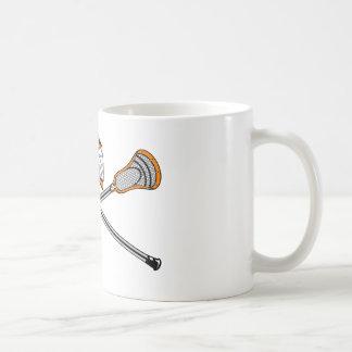 Lacrosse Sticks Crossed Helmet Orange Coffee Mug