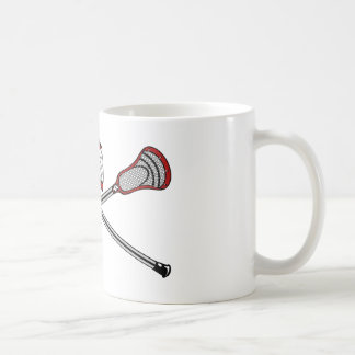 Lacrosse Sticks Crossed Helmet Red Coffee Mug